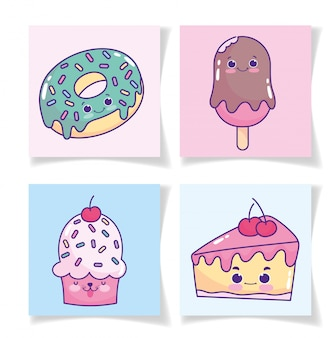 Comida lindo helado de donut en pastel de pastel y tarjetas de cupcake cartoon