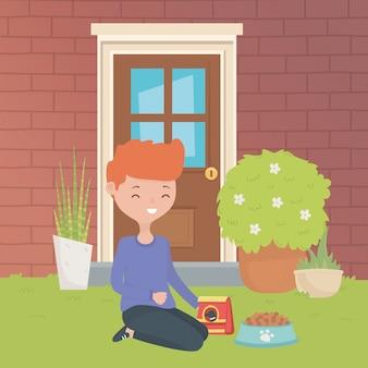 Comida para mascota y niño de diseño de dibujos animados.