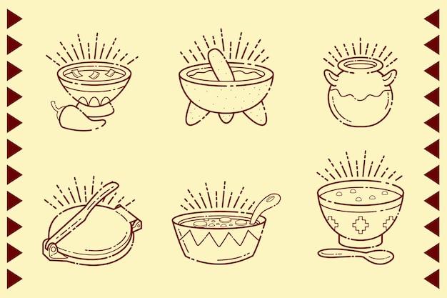 Comida mexicana en cuencos aislados