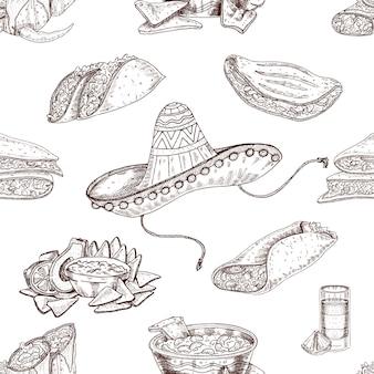 Comida mexicana dibujada a mano de patrones sin fisuras
