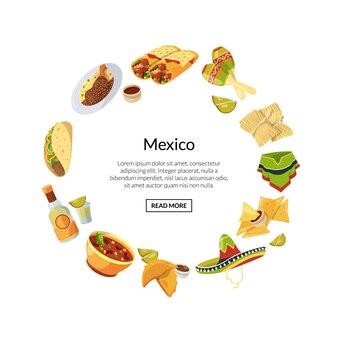 Comida mexicana de dibujos animados en forma de círculo con lugar para ilustración de texto