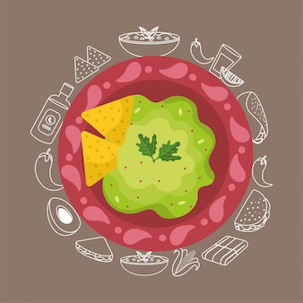 Comida mexicana con salsa tradicional de aguacate.