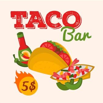 Comida mexicana taco bar ilustración diseño de cocina nacional. restaurante mexicano, cartel de café, folleto, folleto, plantilla de menú. oferta de precio especial.