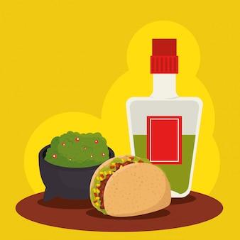 Comida mexicana con tequila a celebración tradicional
