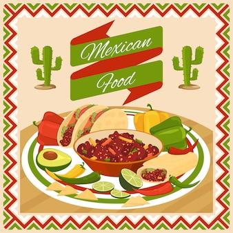 Comida mexicana. vegetales y ají, aguacate y lima, fresco tradicional natural