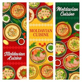 Comida moldava, pancartas de cocina moldava o menú.