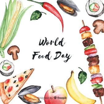Comida mundial acuarela da