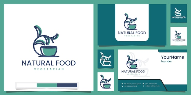 Comida natural con color de arte lineal y hojas de cuenco inspiradas en el diseño del logotipo