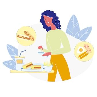 Comida no saludable comer plana