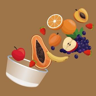 Comida de nutrición de fruta de tazón