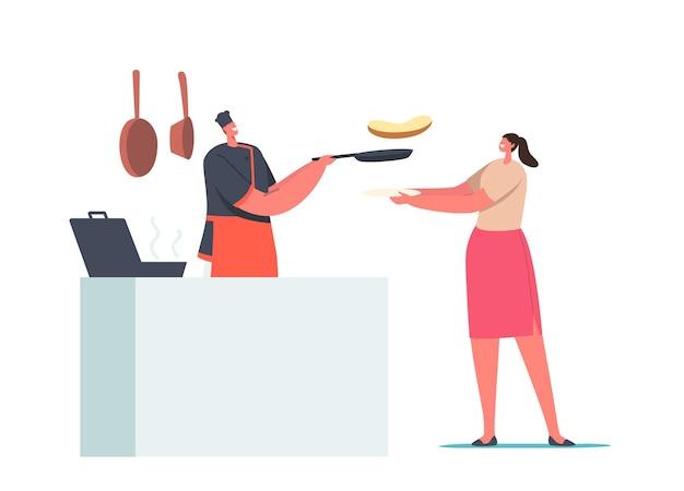 Comida de orden de personaje femenino en el café. mujer sosteniendo la placa frente a la mesa con el chef freír salchichas y hacer tostadas