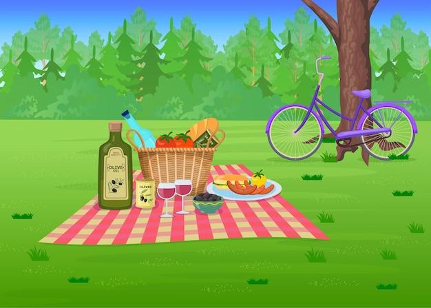 Comida de picnic en la hierba en la ilustración de dibujos animados del parque. cesta de paja con aceitunas, vino, salchichas en manta