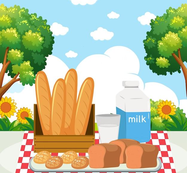 Comida de picnic en el parque