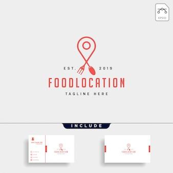 Comida pin navegación elemento de icono de logotipo de lujo plano simple