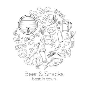 Comida de pub y cerveza