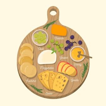 Comida de queso sobre tabla de madera ilustrada