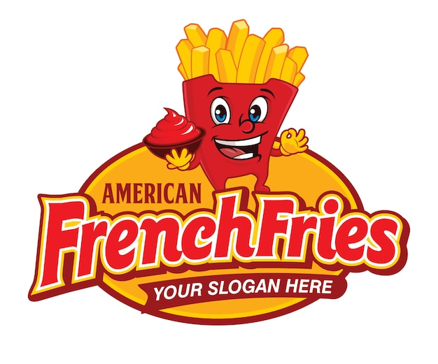 Comida rápida american french fries logo de dibujos animados