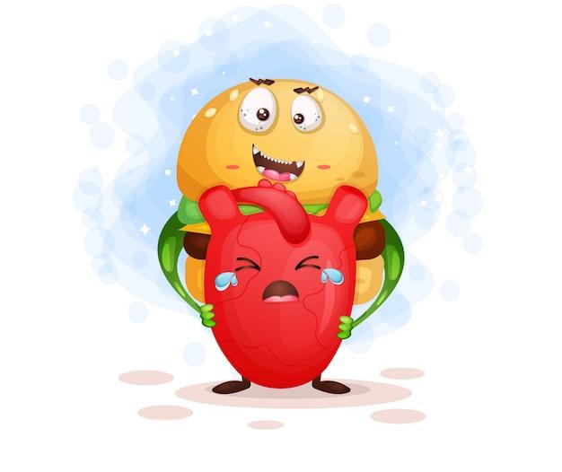La comida rápida asustadiza enojada mata al personaje de dibujos animados del corazón
