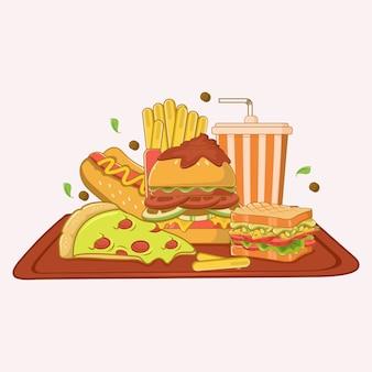 Comida rápida en una bandeja
