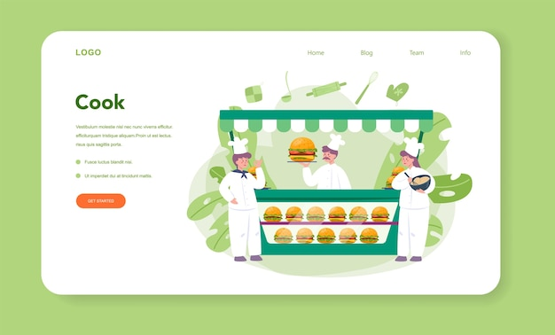 Comida rápida, banner web de hamburguesas o página de destino