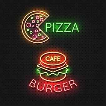 Comida rápida cafe signos de neón - pizza y hamburguesa símbolo de neón