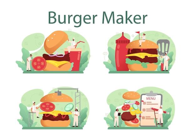 Comida rápida, concepto de casa de hamburguesas establece ilustración