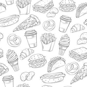 Comida rápida decorativa de patrones sin fisuras.