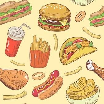 Comida rápida dibujado a mano de patrones sin fisuras con hamburguesa