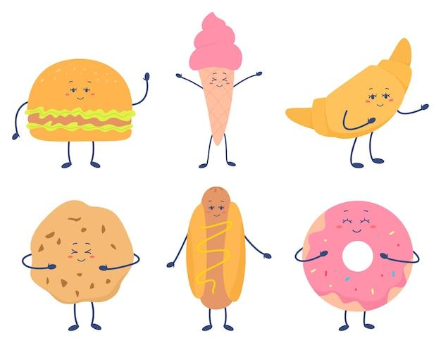 Comida rápida divertida con caras lindas. comida chatarra, hamburguesa, rosquilla, perrito caliente, helado, croissant, galleta con cara sonriente feliz. merienda como personajes de dibujos animados. ilustración