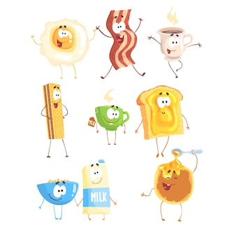 Comida rápida divertida, preparada para. productos para el desayuno de pie y sonriendo. ilustraciones detalladas de dibujos animados