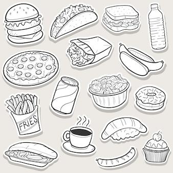 Comida rápida doodle, conjunto de etiquetas engomadas del arte del bosquejo