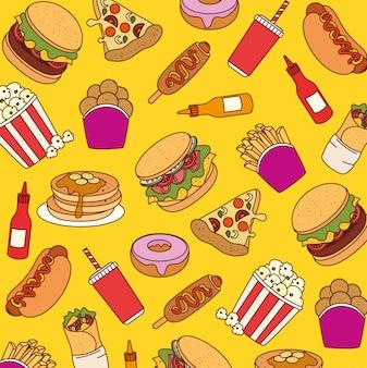 Comida rápida, fondo de deliciosa comida rápida