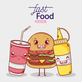 Comida rápida hamburguesa linda mostaza y comida para llevar taza de soda cartoon