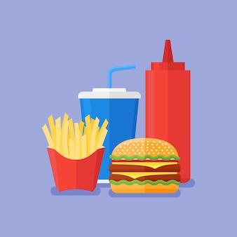 Comida rápida. hamburguesa, papas fritas, refrescos para llevar y salsa de tomate sobre fondo azul. estilo plano