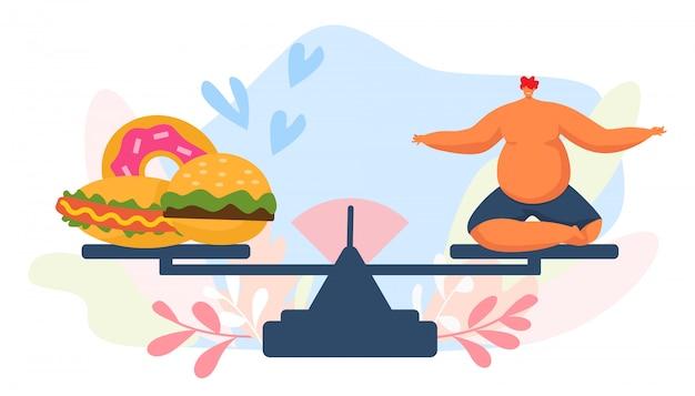 Comida rápida y hombre gordo en escala, ilustración. carácter de peron con sobrepeso poco saludable, gran hombre adulto come dibujos animados de hamburguesa