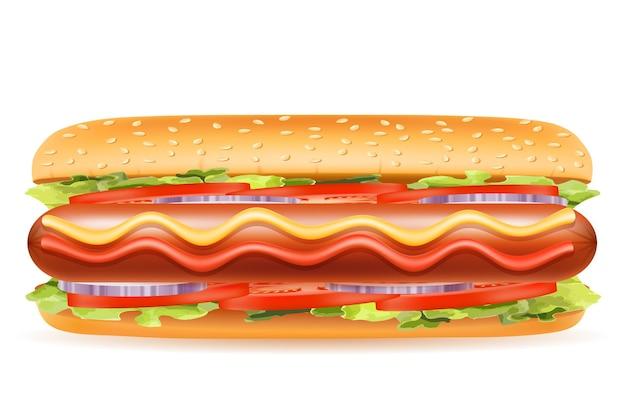 Comida rápida de hot dog en blanco