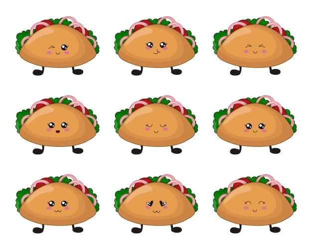 Comida rápida kawaii de dibujos animados - conjunto de tacos con emoji