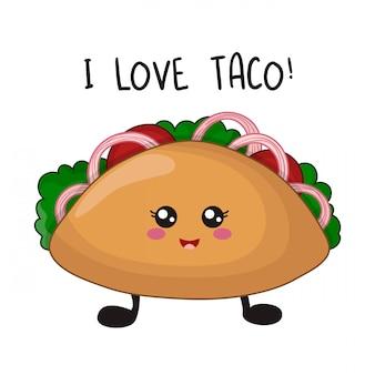 Comida rápida kawaii de dibujos animados con taco mexicano en blanco