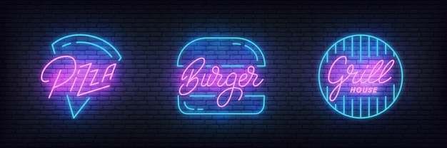 Comida rápida pizza, burger and grill letrero de neón