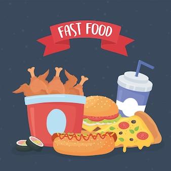 Comida rápida, pizza, hamburguesa, pollo, hot dog y refrescos.