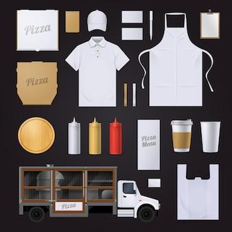 Comida rápida pizza restaurante visual identidad corporativa en blanco plantilla elementos colección