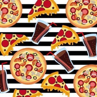 Comida rápida pizza soda rayas fondo de patrones sin fisuras