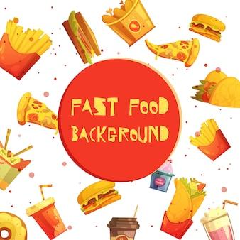Comida rápida restaurante menú elementos fondo decorativo o marco anuncio de dibujos animados retro