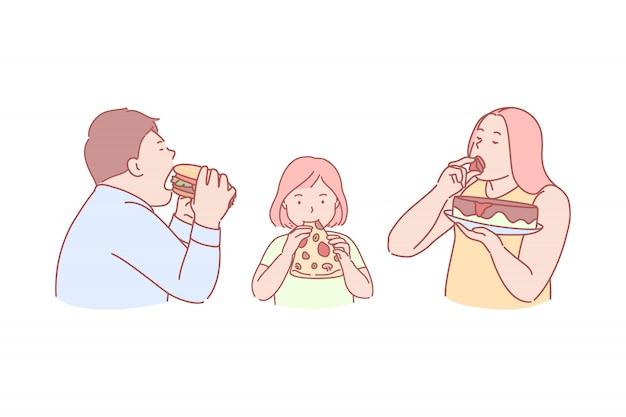 Comida rápida, sabor, obesidad, calorías, ilustración.