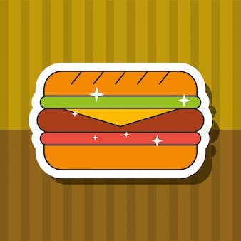 Comida rápida sandwich pan queso jamón