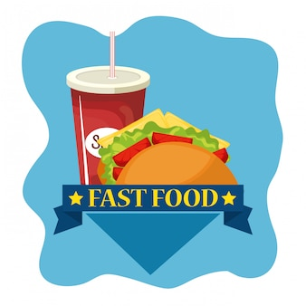 Comida rápida de tacos y refrescos
