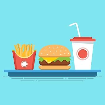 Comida rápida todo incluido en una bandeja. comida chatarra. ilustración plana