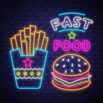 Comida rápida - vector de señal de neón. comida rápida - letrero de neón sobre fondo de pared de ladrillo