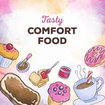 Comida reconfortante dulces y café