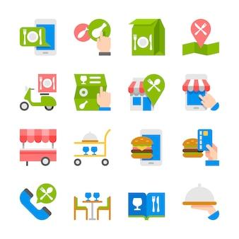 Comida de restaurante ordenando en iconos de línea